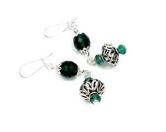 Earrings, silver, emerald green glass, boho chic
