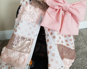 Carseat Canopy Elegant Rose Gold Strip Sequin Canopy Nursing cover car seat canopy car seat cover strip cover girl