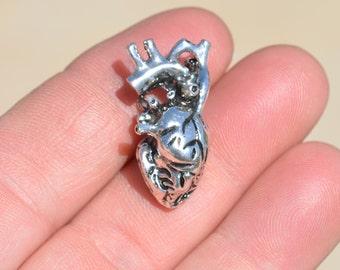 1 Anatomically Correct  Silver Heart Charm SC1436