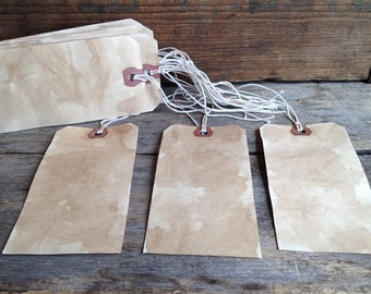 Large Tea-stained Shipping Tags. Tea-stained Hang Tags. Grungy Tags. Tea-dyed Craft Tags. Manila Shipping Tags. Tea-dyed Tags. Large Tags.
