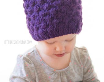 Baby Grape Hat KNITTING PATTERN / Knit Grape Hat Pattern / Grape Baby Hat / Fruit Hat / Purple Baby Hat / Summer Knit Hat/Wine Gifts for Mom
