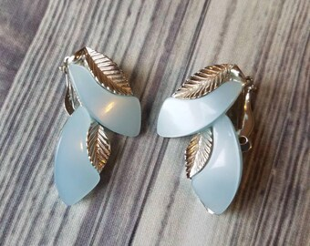 Vintage Lucite Clip on Earrings in Pale Blue with Silver Tone Leaf Pattern