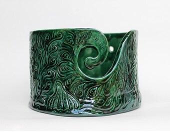 Ceramic Knitting Bowl, Green Yarn Bowl, pottery crochet bowl, carved yarn bowl