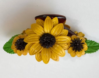 Leather flower SUNFLOWER in large claw hair clip