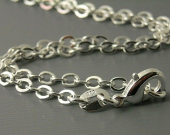 CHAIN-STLF-3MM - 1 necklace of 3mm Sterling Silver Plated Cable Chain - 18 inches
