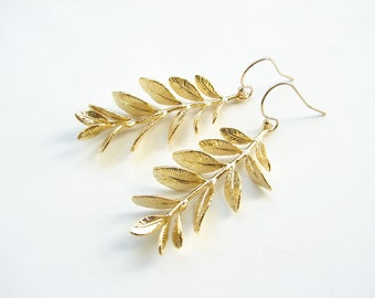Gold Willow Branch Earrings. 14K GF Ear Wire. Gold Leaf Earrings. Bridesmaid GIft. Simple EveryDay Jewelry by PetitBlue