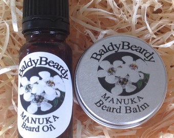 Manuka beard balm and oil combination pack. Beard control, taming, conditioning. Best men's beard grooming, maintenance and styling products