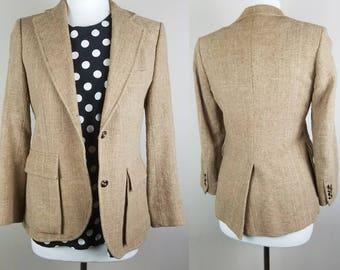 1980s vintage blazer - tan 80s blazer - vintage brown coat - boyfriend blazer