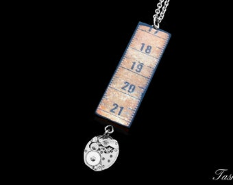 Steampunk Wooden Ruler Necklace, Vintage Long Silver Watch Movement Pendant, Vintage Boho Jewelry