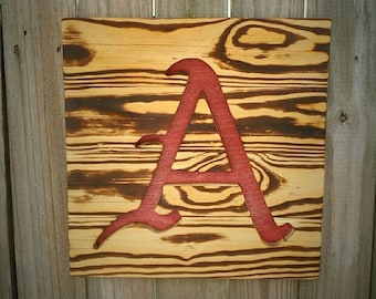 University of Arkansas Razorbacks Wood Burned Sign - Reclaimed Wood