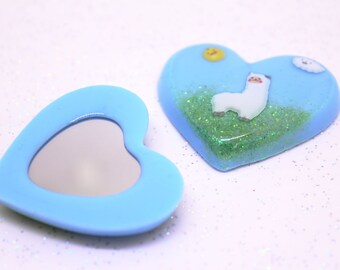 Llama Gift, Compact Mirror, Heart Mirror, Alpaca Gift, Animal Mirror, Llama Accessories, Small Llama, Llama Mirror, Handbag Mirror