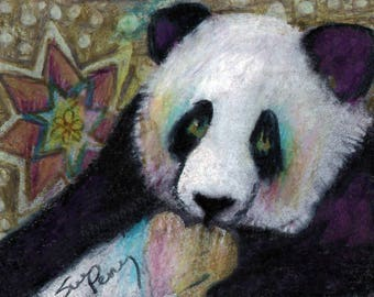 original art aceo drawing zentangle style panda spirit animal