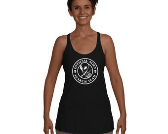 Official Alien Search Team Alien Believers UFO Mars Attacks Alien Invasion Funny Aliens shirts Women's Racerback Tank