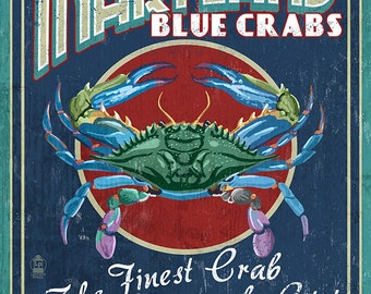 Chesapeake City, Maryland - Blue Crab Vintage Sign (Art Prints available in multiple sizes)