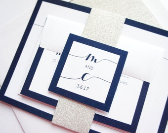 Navy Wedding Invitation Set, Navy Wedding Invitations, Glitter Wedding Invitations, Navy Blue and Silver Wedding Invitation - SAMPLE SET