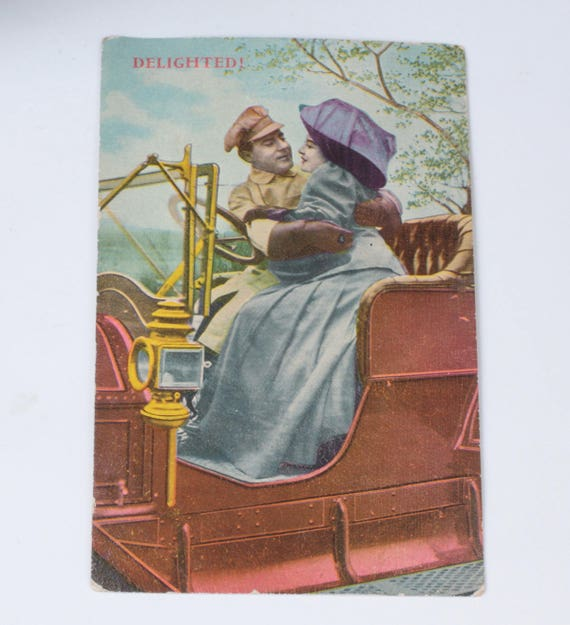 Couple in Early Automobile Postcard  1911 Antique RPPC