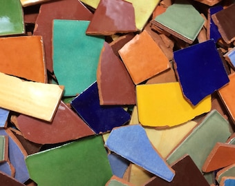 Broken Mexican Color Tiles for Mosaic Decorating
