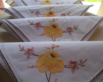 Vintage Appliqued serviettes de table