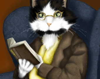 Tuxedo Cat Art, Mr Bennet Cat Reading Book 8x10 Fine Art Print