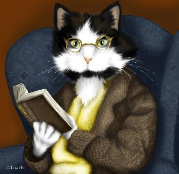 Tuxedo Cat Art, Mr Bennet Cat Reading Book 8x10 Fine Art Print
