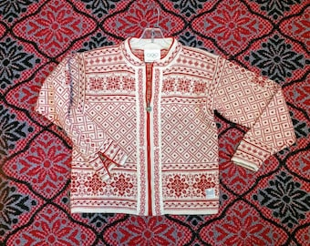 Olympics sweater Dale of Norway red Nordic Winter zip cardigan Women's Small Snowflake pattern ivory wool