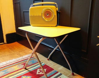 1950's folding table with yellow formica top