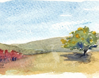 watercolor landscape- Early Sumac- prairie art print