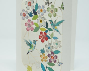PM283 Happy Mothers Day Hummingbird and flowers
