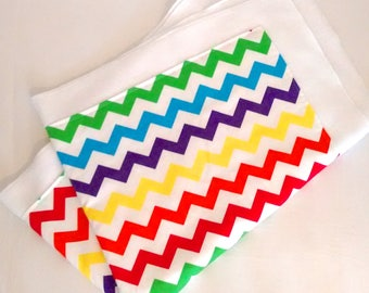 Multi coloured chevron baby blanket