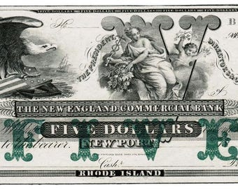 Mid 1800's Newport Rhode Island 5 Dollar Bank Note Uncirculated - New England Commercial Bank