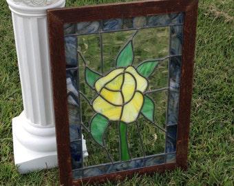 "STAINED GLASS WINDOW is a 22 1/2"" x 16 1/2"" x 1 1/2"" Dark Wood Window Frame with a 19 1/2"" x 13"" Stained Glass Window with a Yellow Rose"