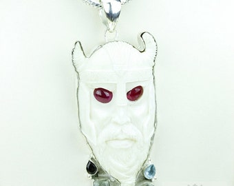 Red Ruby Eyes! Norse Mythology VIKING TOTEM Goddess Face Moon Face Bone Carving 925 S0LID Sterling Silver Pendant + 4MM Chain p3918