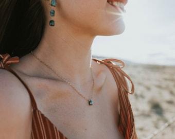 Green Moonstone Teardrop Necklace- Gold