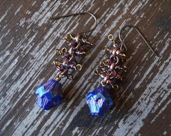 Unlisted - Metalic Blue Earrings - Spindle Earrings - Chain Earrings - Bead Soup Jewelry - Dangle Earrings