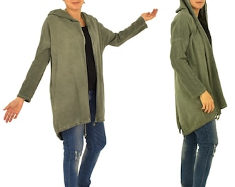II300GN jacket lady Hood Parker coat Sweaterstoff uncoverable gr. 38-44 used Look green