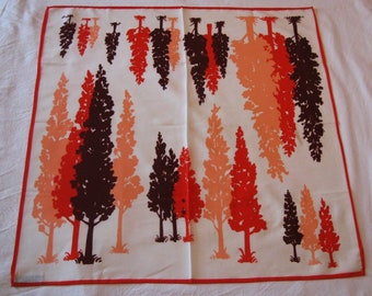 Nasharr Freres Polyester Scarf - Trees - Red, Brown, Salmon, White