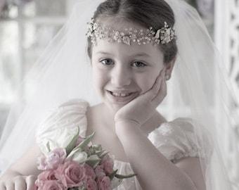 Flower Girl headpiece, flower girl headband, Holly 1st communion headband