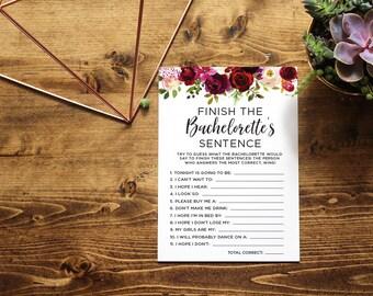 Finish The Bachelorette's Sentence   Bachelorette Party Game   Floral Watercolor   Finish the Bachelorette's Phrase