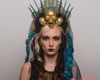 Virgin Mary Halo Day of the Dead Headpiece Saint Gold Skulls Crown Dia de los Muertos Headdress Blue Black Veil Costume Blessed Mother