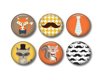 Hipster pinback button badges or fridge magnets, fridge magnet set