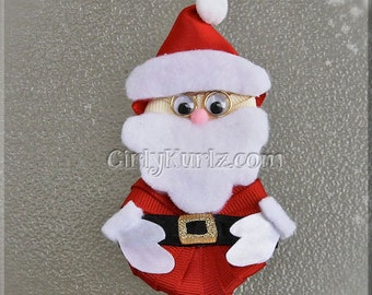 Santa Hair Clip, Santa Hair Bow, Christmas Hair Clip, Christmas Hair Bow, Santa Claus Hair Bow, Christmas Bow, Hair Bow for Girls