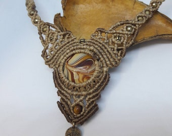 """Macrame Colar Bohemian, Murano """"Caramel"""".Chic ,Hippie, Necklace, by Chrysa's hands"""