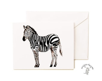 Thankful Zebra Card Set - Handmade - Thank You- A2- Blank