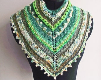 Green Neckwarmer, Scarf, Bandana or Kerchief Cowl, Knitted from Artisan Handspun Art Yarns with Sparkle