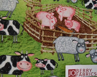 Barnyard Animals from the Barnyard Boogie Collection by Blank Quilting.  Quilt or Craft Fabric, Fabric by the Yard.
