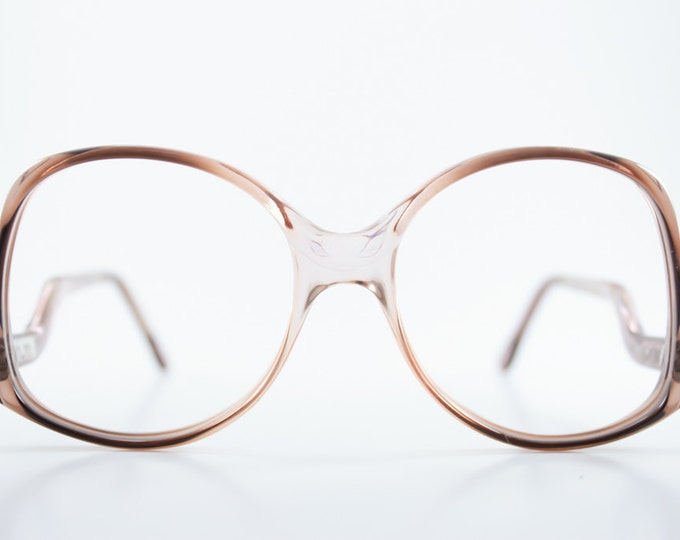 Vintage Eyeglass Frame   Translucent Two-Tone Grey Pink Ombre   1980s Oversize Rounded  - Melbourne 44