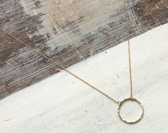 Simple & Delicate Gold Plated Hammered Circle