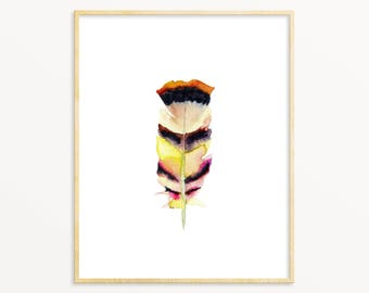 Tribal Watercolor Feather Art Print. Minimalist Apartment Decor. Modern Nature Wall Art. Unique Home Decor. Eclectic Living Room Art Print.