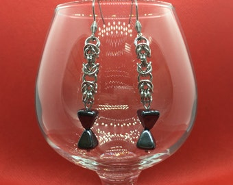 Chainmaille Earrings - Byzantine with Magnetite - Stainless Steel