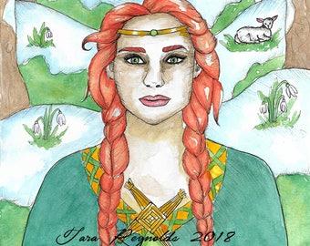 Goddess Art Celtic Goddess Brigid Art Print Brighid Imbolc St Bridget Mythology Divine Sacred Feminine Fantasy Art Print Spiritual Art